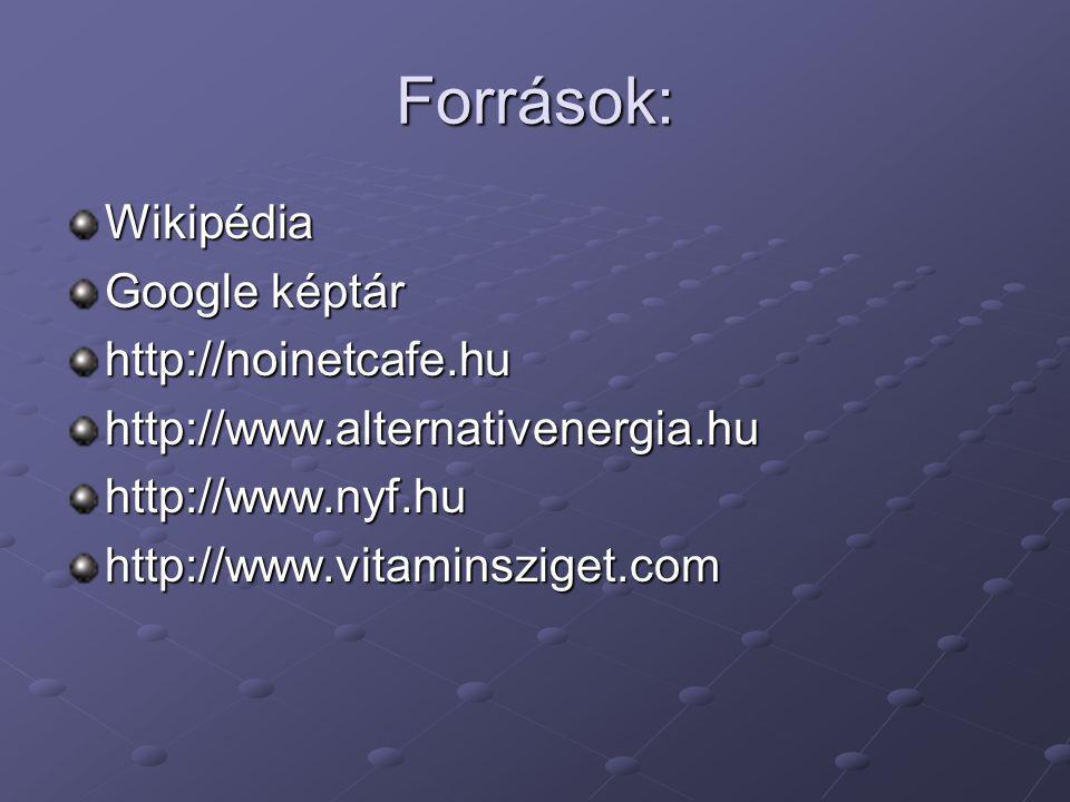Források: Wikipédia Google képtár http://noinetcafe.huhttp://www.alternativenergia.huhttp://www.nyf.huhttp://www.vitaminsziget.com