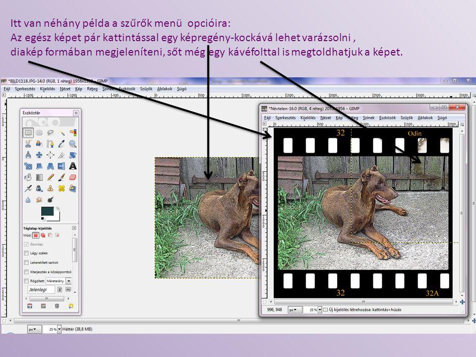 Itt van néhány példa a szűrők menü opcióira: Az egész képet pár kattintással egy képregény-kockává lehet varázsolni, diakép formában megjeleníteni, ső