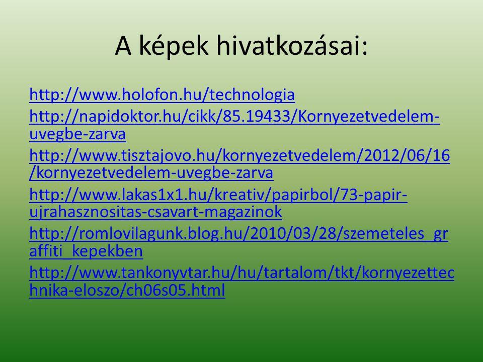 A képek hivatkozásai: http://www.holofon.hu/technologia http://napidoktor.hu/cikk/85.19433/Kornyezetvedelem- uvegbe-zarva http://www.tisztajovo.hu/kor
