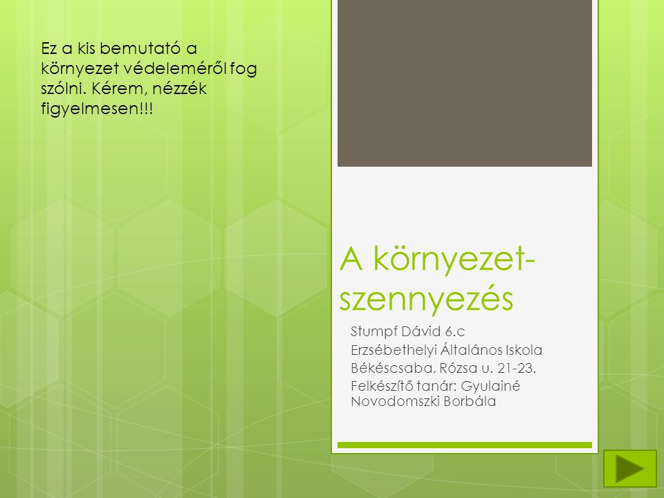 A környezet- szennyezés Stumpf Dávid 6.c Erzsébethelyi Általános Iskola Békéscsaba, Rózsa u.