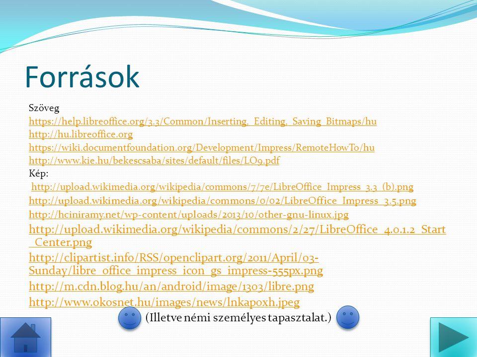 Források Szöveg https://help.libreoffice.org/3.3/Common/Inserting,_Editing,_Saving_Bitmaps/hu http://hu.libreoffice.org https://wiki.documentfoundatio