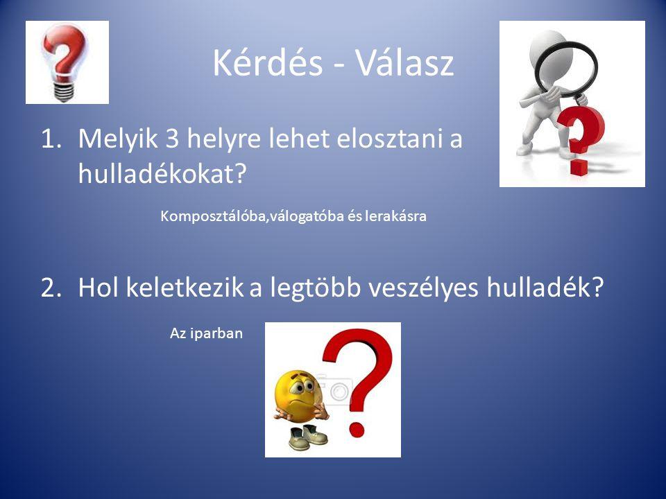 Kérdés - Válasz 1.Melyik 3 helyre lehet elosztani a hulladékokat? 2.Hol keletkezik a legtöbb veszélyes hulladék? Komposztálóba,válogatóba és lerakásra