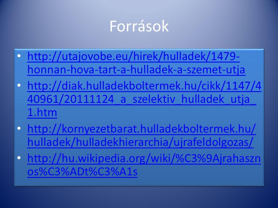 Források http://utajovobe.eu/hirek/hulladek/1479- honnan-hova-tart-a-hulladek-a-szemet-utja http://utajovobe.eu/hirek/hulladek/1479- honnan-hova-tart-
