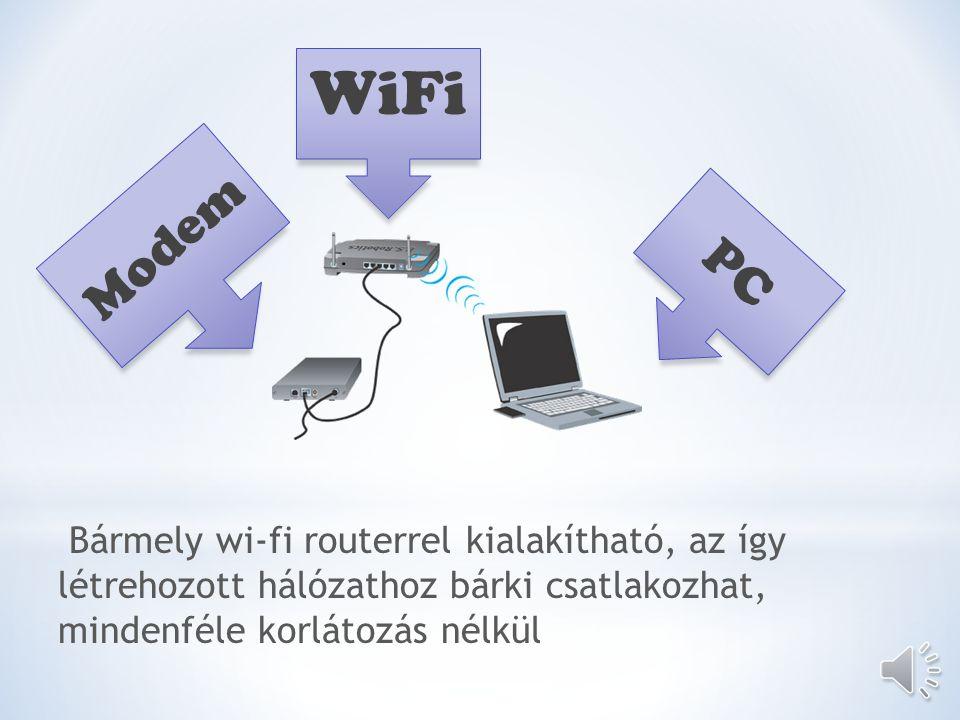 WiFi PC Modem Bármely wi-fi routerrel kialakítható, az így létrehozott hálózathoz bárki csatlakozhat, mindenféle korlátozás nélkül