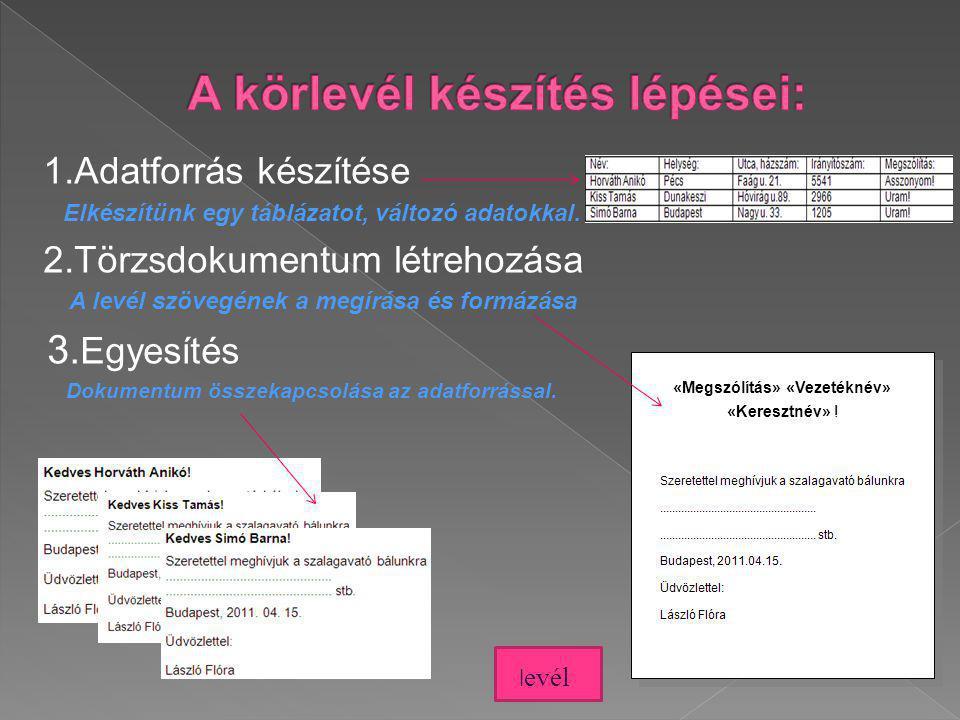 1.Adatforrás készítése Elkészítünk egy táblázatot, változó adatokkal. 2.Törzsdokumentum létrehozása A levél szövegének a megírása és formázása 3. Egye