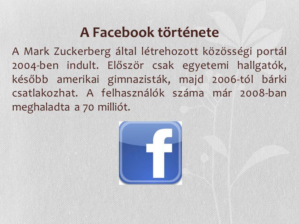 A Facebook története A Mark Zuckerberg által létrehozott közösségi portál 2004-ben indult. Először csak egyetemi hallgatók, később amerikai gimnazistá