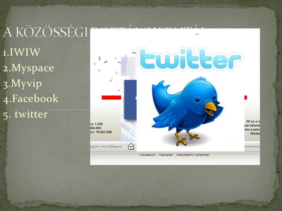 1.IWIW 2.Myspace 3.Myvip 4.Facebook 5. twitter