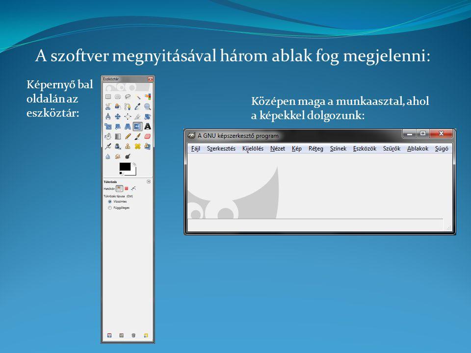 A szoftver megnyitásával három ablak fog megjelenni: Képernyő bal oldalán az eszköztár: Középen maga a munkaasztal, ahol a képekkel dolgozunk: