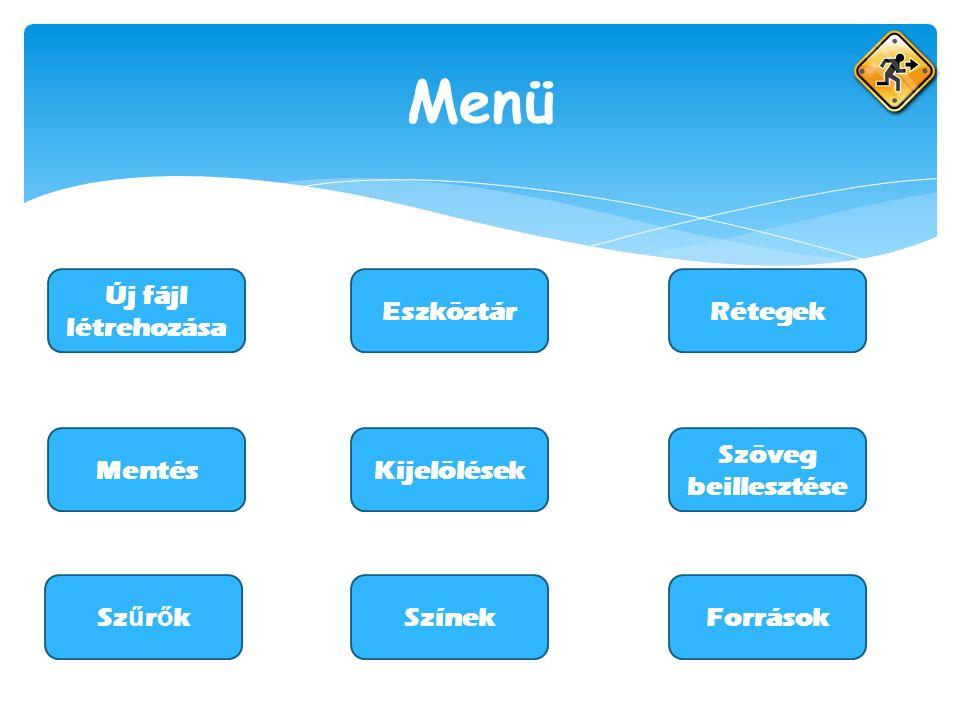 Menü Új fájl létrehozása EszköztárRétegek ForrásokSzínekSz ű r ő k MentésKijelölések Szöveg beillesztése