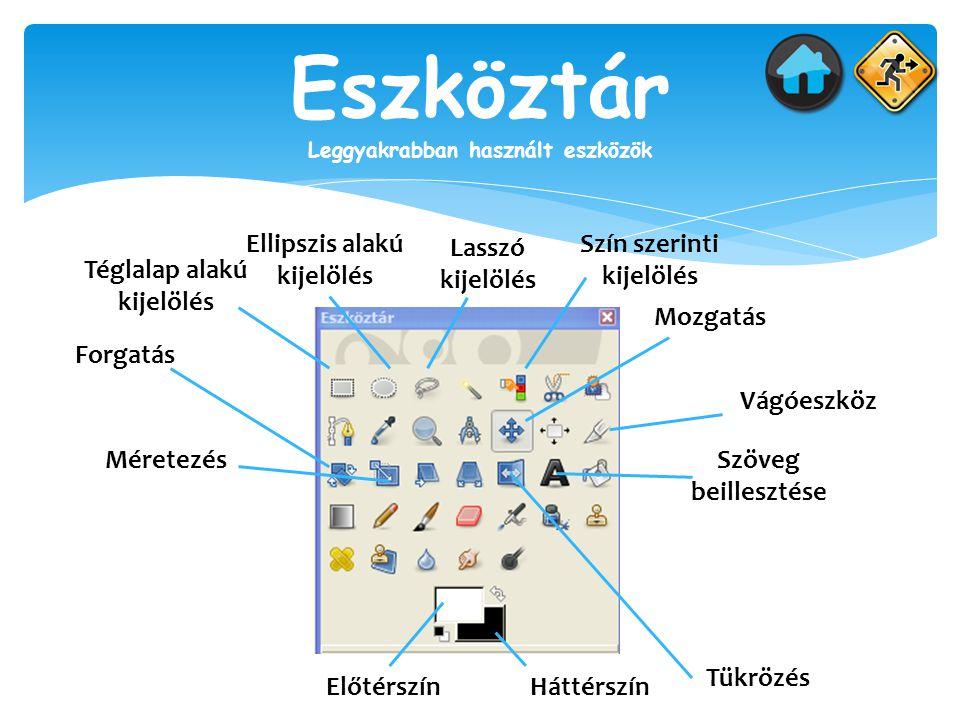 Eszköztár Leggyakrabban használt eszközök Téglalap alakú kijelölés Ellipszis alakú kijelölés Lasszó kijelölés Szín szerinti kijelölés Mozgatás Vágóesz
