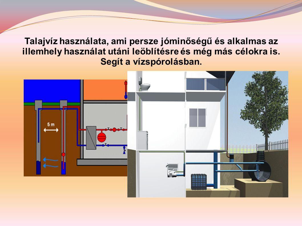 Talajvíz használata, ami persze jóminőségű és alkalmas az illemhely használat utáni leöblítésre és még más célokra is.