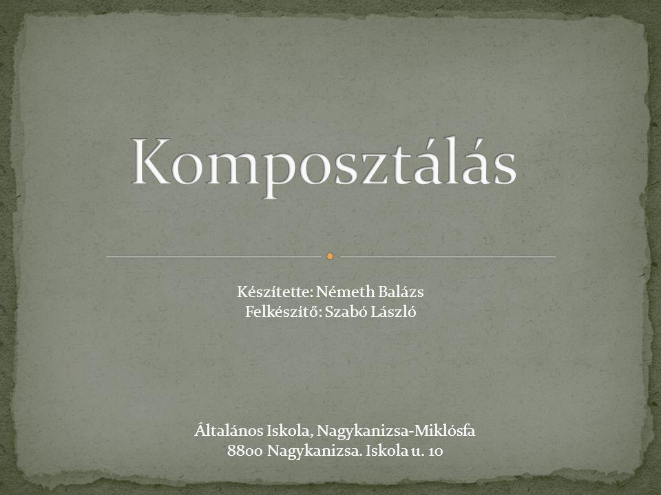 Készítette: Németh Balázs Felkészítő: Szabó László Általános Iskola, Nagykanizsa-Miklósfa 8800 Nagykanizsa.