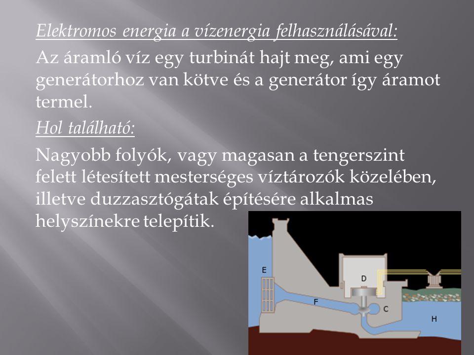 Elektromos energia a vízenergia felhasználásával: Az áramló víz egy turbinát hajt meg, ami egy generátorhoz van kötve és a generátor így áramot termel