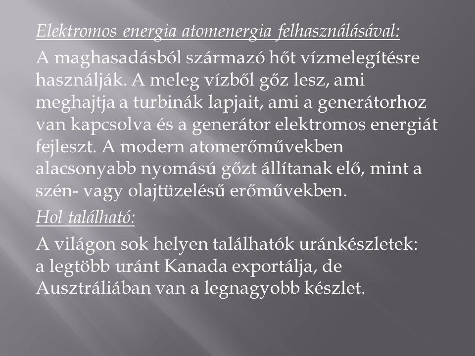 Elektromos energia atomenergia felhasználásával: A maghasadásból származó hőt vízmelegítésre használják. A meleg vízből gőz lesz, ami meghajtja a turb