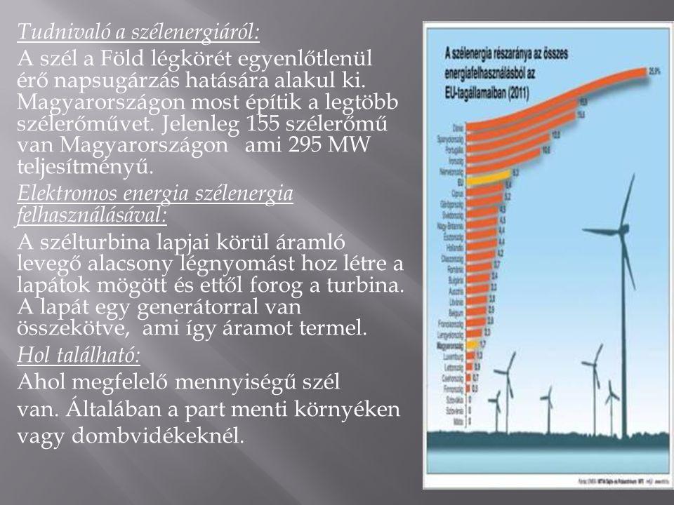 Tudnivaló a szélenergiáról: A szél a Föld légkörét egyenlőtlenül érő napsugárzás hatására alakul ki. Magyarországon most építik a legtöbb szélerőművet