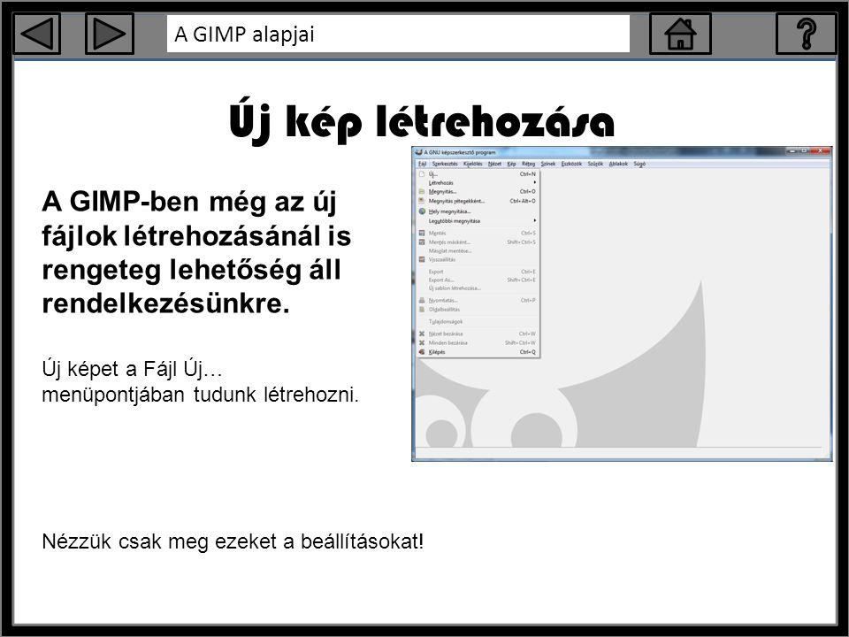 A GIMP alapjai Új kép létrehozása A GIMP-ben még az új fájlok létrehozásánál is rengeteg lehetőség áll rendelkezésünkre.