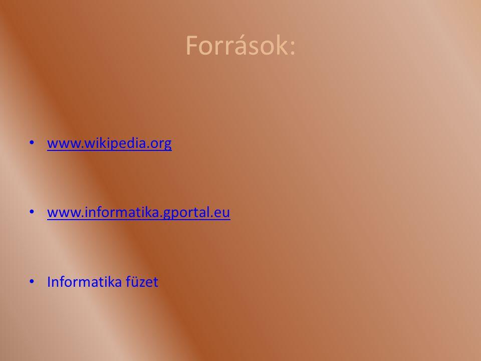 Források: www.wikipedia.org www.informatika.gportal.eu Informatika füzet