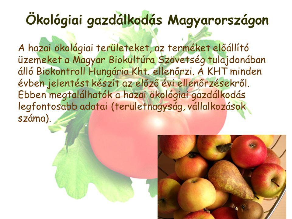 Ökológiai gazdálkodás Magyarországon A hazai ökológiai területeket, az terméket előállító üzemeket a Magyar Biokultúra Szövetség tulajdonában álló Biokontroll Hungária Kht.