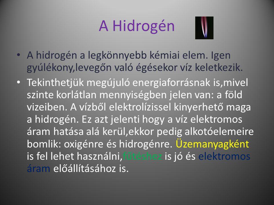 A Hidrogén A hidrogén a legkönnyebb kémiai elem.
