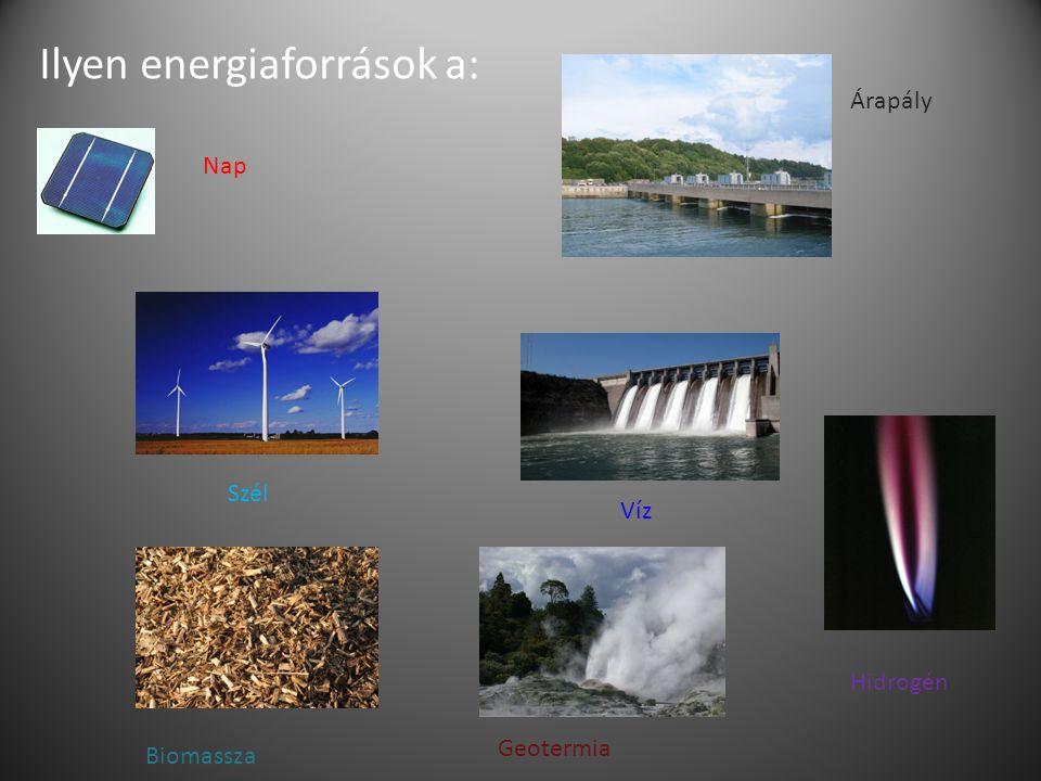 Ilyen energiaforrások a: Nap Árapály Szél Víz Hidrogén Biomassza Geotermia