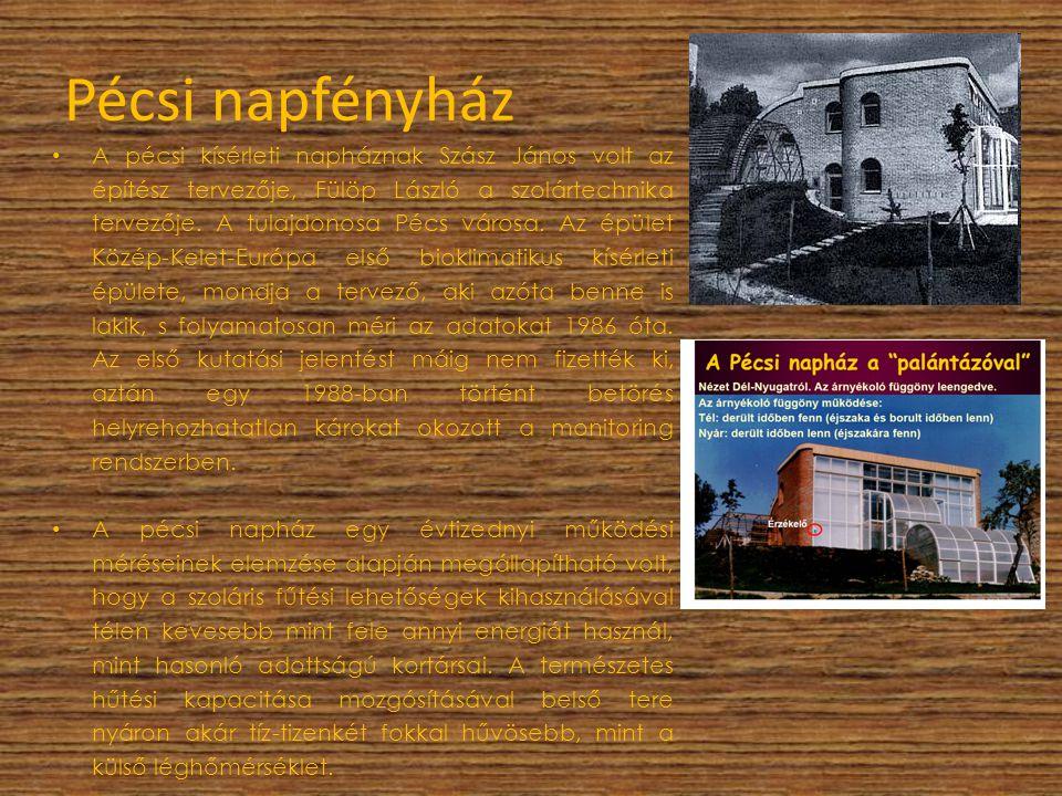 Pécsi napfényház A pécsi kísérleti napháznak Szász János volt az építész tervezője, Fülöp László a szolártechnika tervezője. A tulajdonosa Pécs városa
