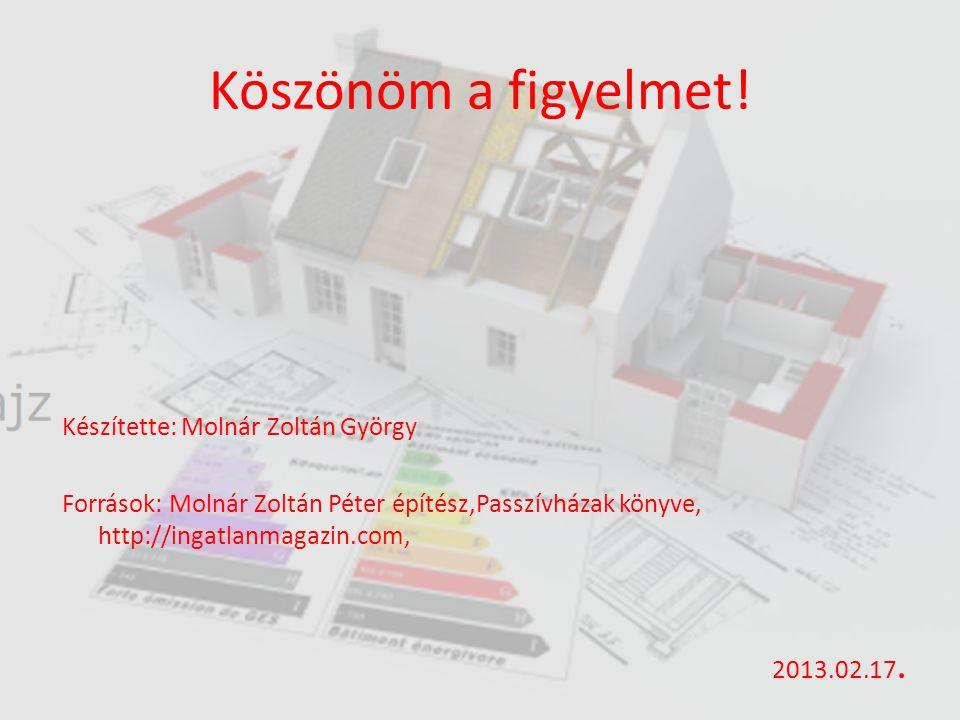 Köszönöm a figyelmet! Készítette: Molnár Zoltán György Források: Molnár Zoltán Péter építész,Passzívházak könyve, http://ingatlanmagazin.com, 2013.02.