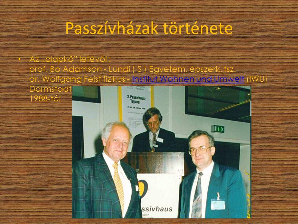 """Passzívházak története Az """"alapkő"""" letévői : prof. Bo Adamson - Lundi ( S ) Egyetem, épszerk. tsz. dr. Wolfgang Feist fizikus - Institut Wohnen und Um"""