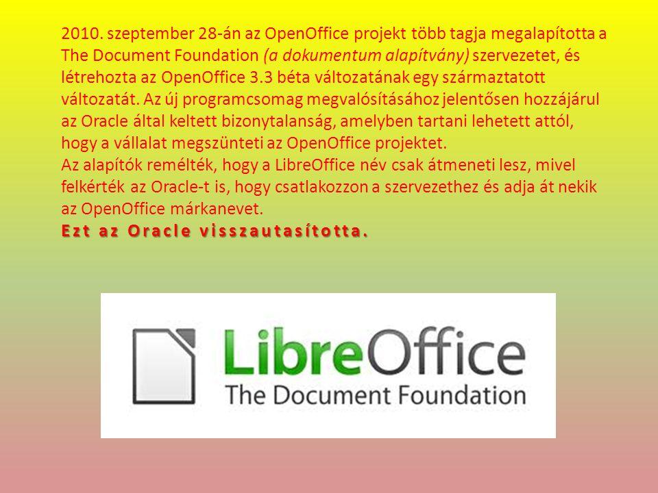 A The Document Foundation fejlesztői 2010.szeptember 28-án kiadták a Libre Office 3.3.0 1-et.