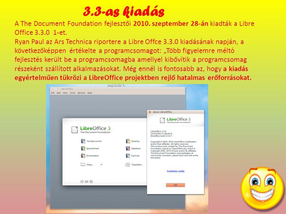 A The Document Foundation fejlesztői 2010. szeptember 28-án kiadták a Libre Office 3.3.0 1-et.