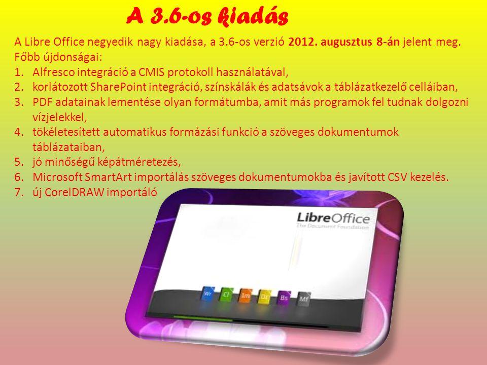 A 3.6-os kiadás A Libre Office negyedik nagy kiadása, a 3.6-os verzió 2012.