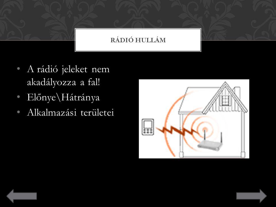 A rádió jeleket nem akadályozza a fal! Előnye\Hátránya Alkalmazási területei RÁDIÓ HULLÁM