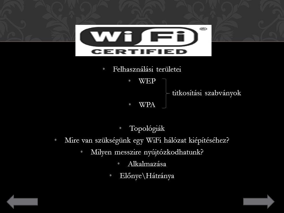 Felhasználási területei Felhasználási területei WEP WEP titkosítási szabványok titkosítási szabványok WPA WPA Topológiák Topológiák Mire van szükségün