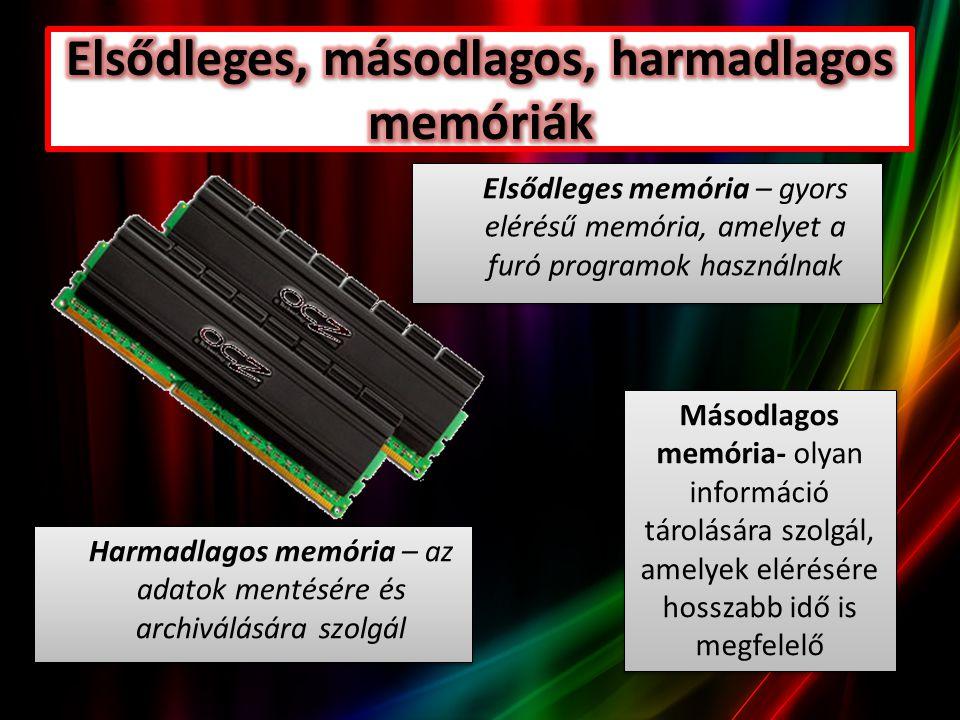 Elsődleges memória – gyors elérésű memória, amelyet a furó programok használnak Másodlagos memória- olyan információ tárolására szolgál, amelyek elérésére hosszabb idő is megfelelő Harmadlagos memória – az adatok mentésére és archiválására szolgál