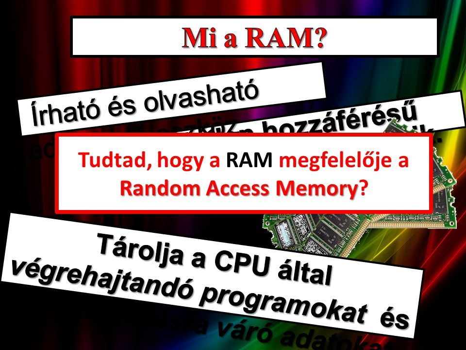 Random Access Memory Tudtad, hogy a RAM megfelelője a Random Access Memory