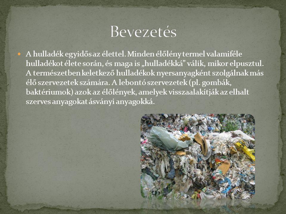 """A hulladék egyidős az élettel. Minden élőlény termel valamiféle hulladékot élete során, és maga is """"hulladékká"""" válik, mikor elpusztul. A természetben"""