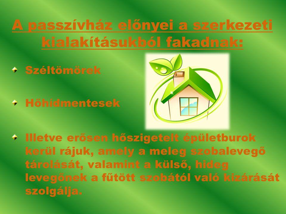 IH 1.A passzívházak aktív fűtést igényelnek. 2.