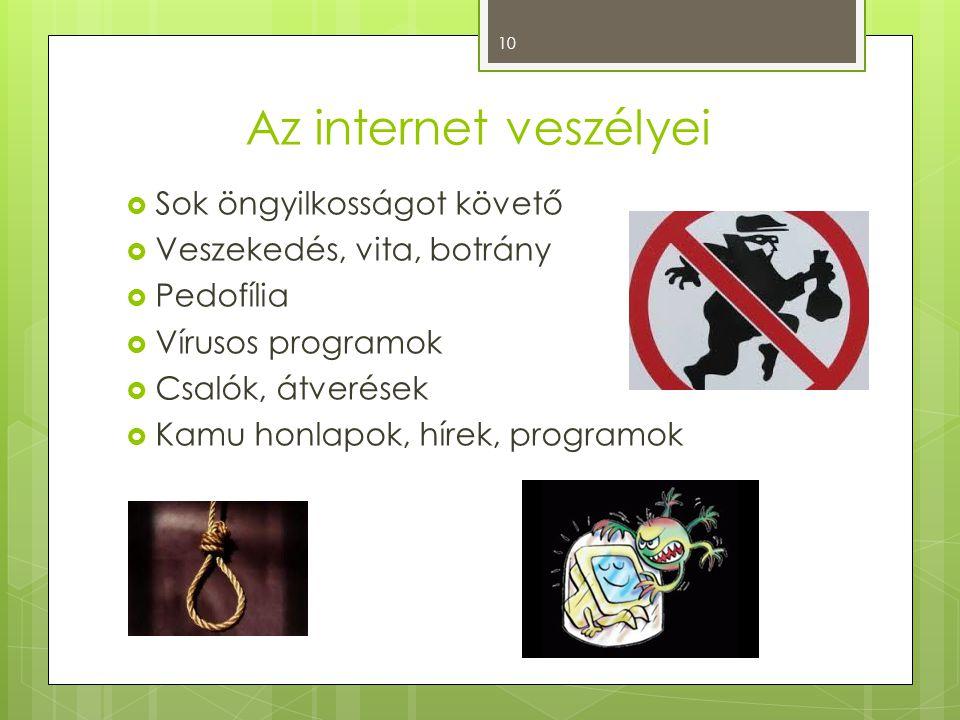 Az internet veszélyei  Sok öngyilkosságot követő  Veszekedés, vita, botrány  Pedofília  Vírusos programok  Csalók, átverések  Kamu honlapok, hír