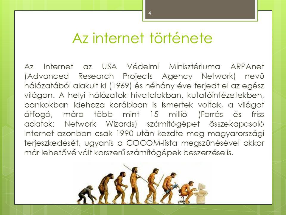 Az internet története Az Internet az USA Védelmi Minisztériuma ARPAnet (Advanced Research Projects Agency Network) nevű hálózatából alakult ki (1969)