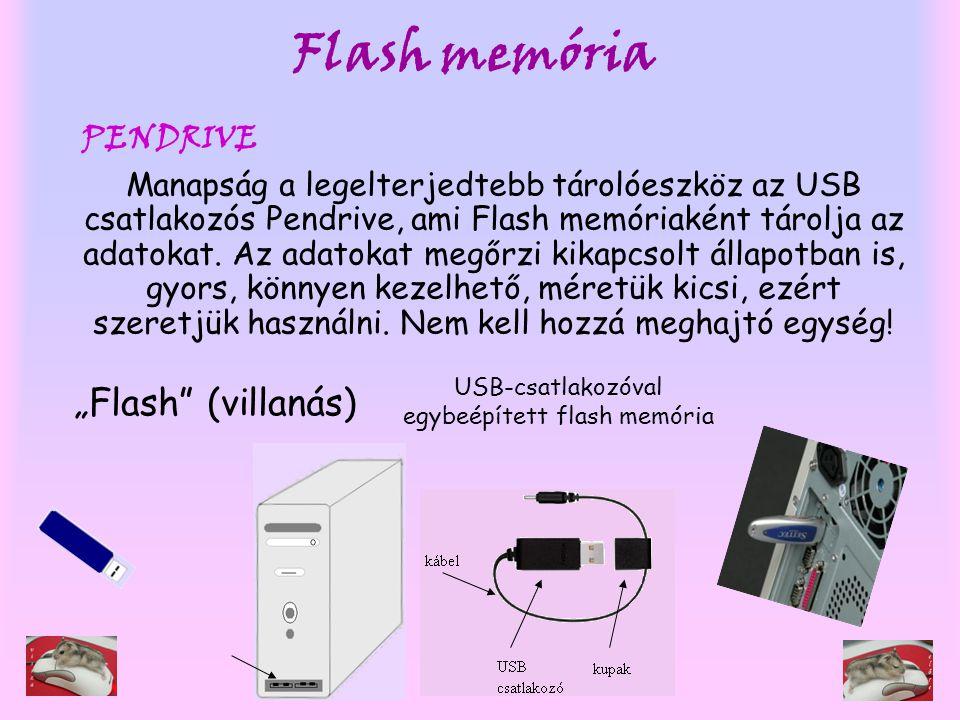 Flash memória Manapság a legelterjedtebb tárolóeszköz az USB csatlakozós Pendrive, ami Flash memóriaként tárolja az adatokat. Az adatokat megőrzi kika