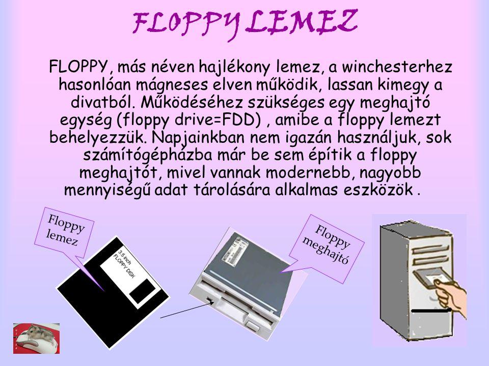 FLOPPY LEMEZ FLOPPY, más néven hajlékony lemez, a winchesterhez hasonlóan mágneses elven működik, lassan kimegy a divatból. Működéséhez szükséges egy