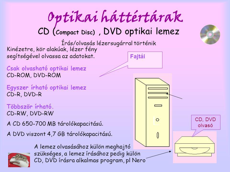 Optikai háttértárak CD ( Compact Disc), DVD optikai lemez Írás/olvasás lézersugárral történik Kinézetre, kör alakúak, lézer fény segítségével olvassa