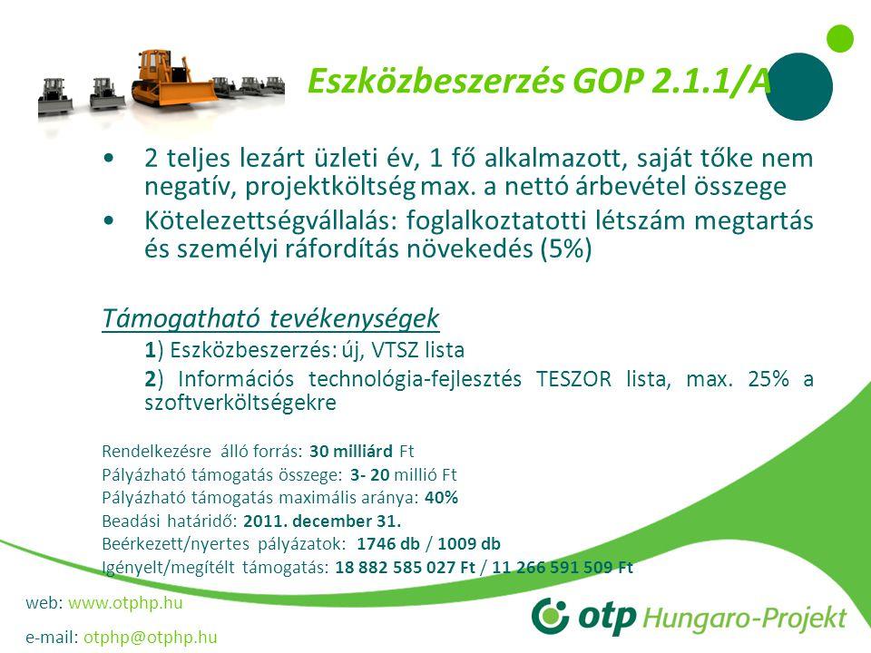 web: www.otphp.hu e-mail: otphp@otphp.hu Eszközbeszerzés GOP 2.1.1/A 2 teljes lezárt üzleti év, 1 fő alkalmazott, saját tőke nem negatív, projektköltség max.