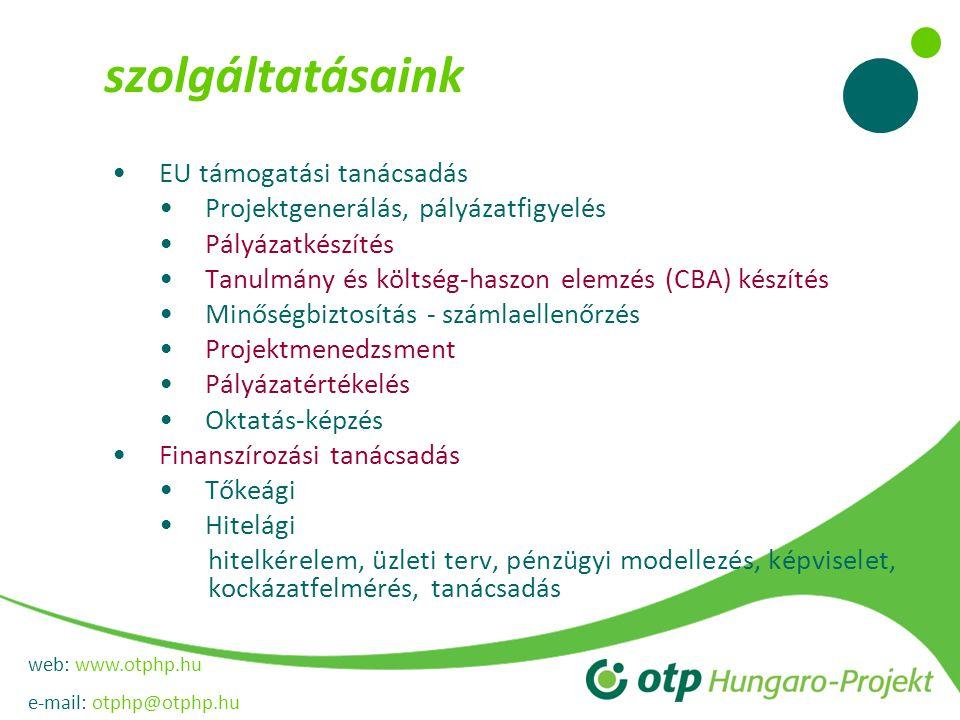 web: www.otphp.hu e-mail: otphp@otphp.hu szolgáltatásaink EU támogatási tanácsadás Projektgenerálás, pályázatfigyelés Pályázatkészítés Tanulmány és költség-haszon elemzés (CBA) készítés Minőségbiztosítás - számlaellenőrzés Projektmenedzsment Pályázatértékelés Oktatás-képzés Finanszírozási tanácsadás Tőkeági Hitelági hitelkérelem, üzleti terv, pénzügyi modellezés, képviselet, kockázatfelmérés, tanácsadás