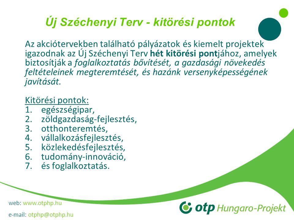web: www.otphp.hu e-mail: otphp@otphp.hu Új Széchenyi Terv - kitörési pontok Az akciótervekben található pályázatok és kiemelt projektek igazodnak az Új Széchenyi Terv hét kitörési pontjához, amelyek biztosítják a foglalkoztatás bővítését, a gazdasági növekedés feltételeinek megteremtését, és hazánk versenyképességének javítását.
