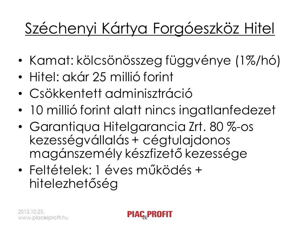 Széchenyi Kártya Forgóeszköz Hitel Kamat: kölcsönösszeg függvénye (1%/hó) Hitel: akár 25 millió forint Csökkentett adminisztráció 10 millió forint ala