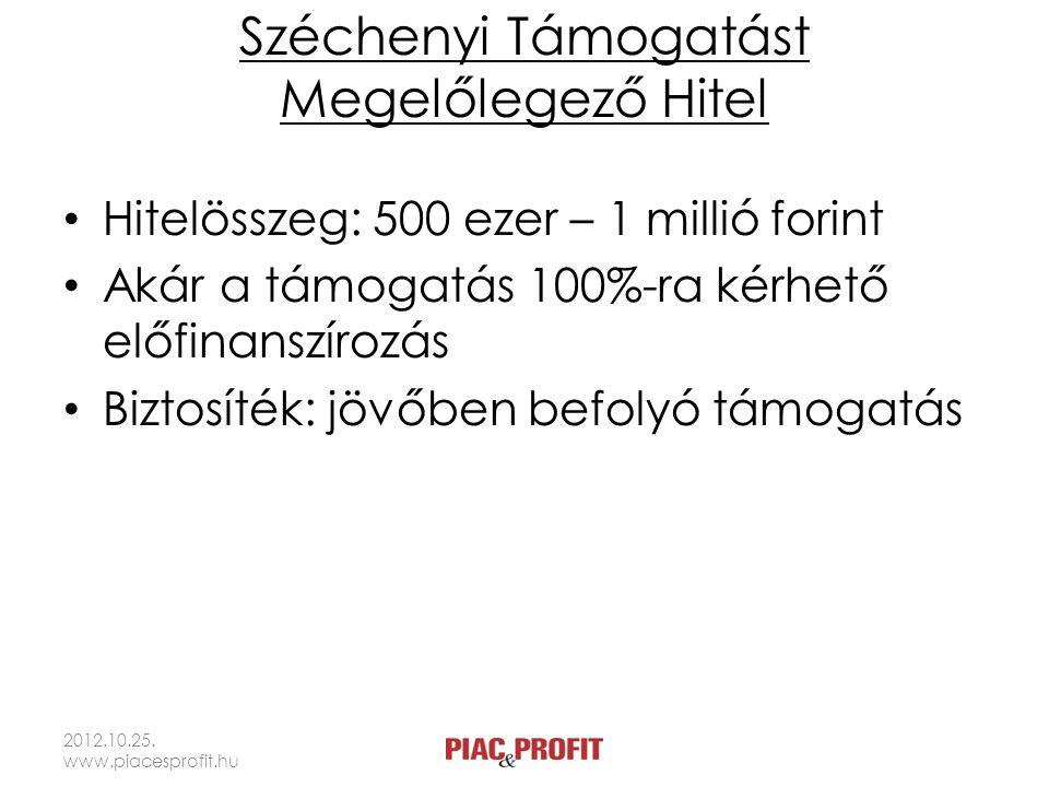 Széchenyi Támogatást Megelőlegező Hitel Hitelösszeg: 500 ezer – 1 millió forint Akár a támogatás 100%-ra kérhető előfinanszírozás Biztosíték: jövőben befolyó támogatás 2012.10.25.