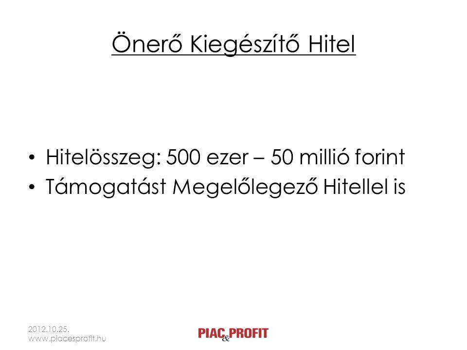 Önerő Kiegészítő Hitel Hitelösszeg: 500 ezer – 50 millió forint Támogatást Megelőlegező Hitellel is 2012.10.25. www.piacesprofit.hu