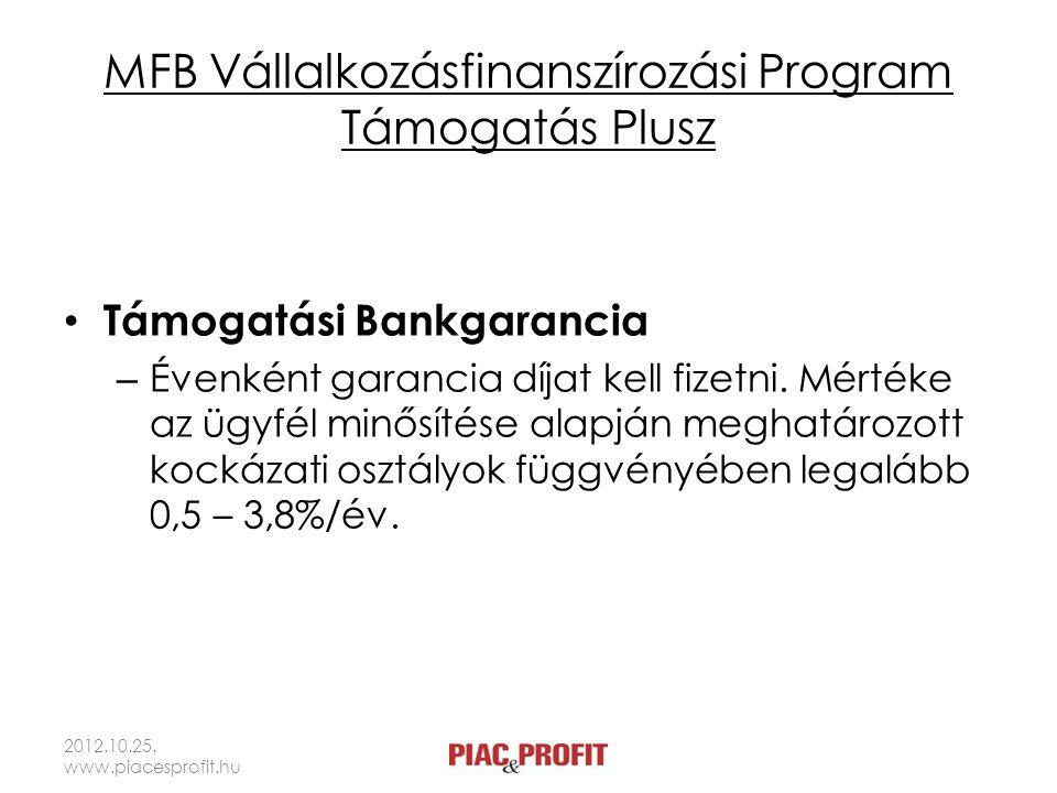 MFB Vállalkozásfinanszírozási Program Támogatás Plusz Támogatási Bankgarancia – Évenként garancia díjat kell fizetni. Mértéke az ügyfél minősítése ala