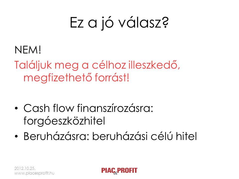 Ez a jó válasz? NEM! Találjuk meg a célhoz illeszkedő, megfizethető forrást! Cash flow finanszírozásra: forgóeszközhitel Beruházásra: beruházási célú