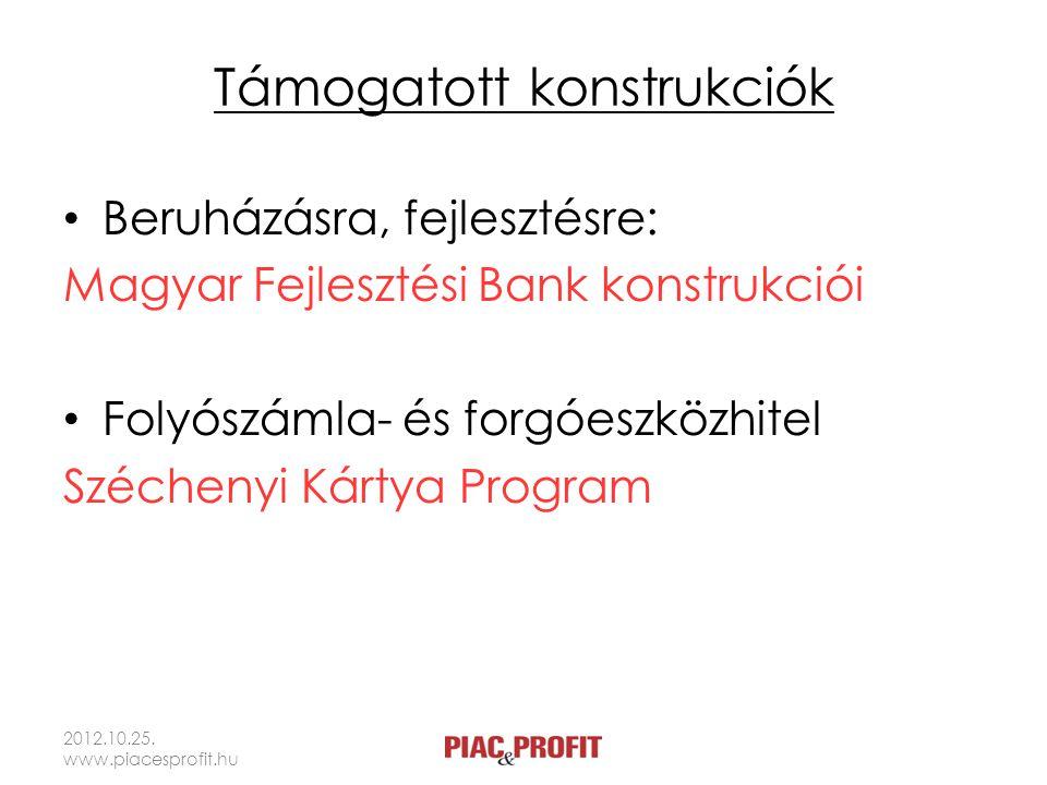 Támogatott konstrukciók Beruházásra, fejlesztésre: Magyar Fejlesztési Bank konstrukciói Folyószámla- és forgóeszközhitel Széchenyi Kártya Program 2012
